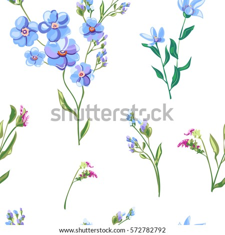 Vector floral seamless pattern blue flowers stock vector 572782792 vector floral seamless pattern with blue flowers and buds forget me not ccuart Image collections