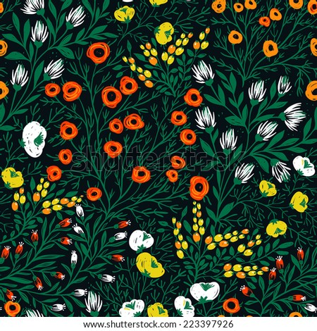 vector floral seamless pattern with bright summer blooms on a dark background - stock vector