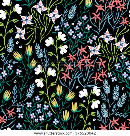 vector floral seamless pattern with colorful summer flowers and plants
