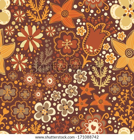 Vector floral seamless pattern with cute different flowers and plants on the brown background - stock vector