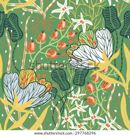 vector floral seamless pattern with exotic plants and flowers - stock vector