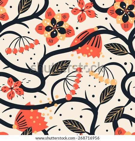 vector floral seamless pattern with fantasy folk curly flowers  - stock vector