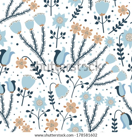 Vector floral seamless pattern with flowers on the white background. - stock vector