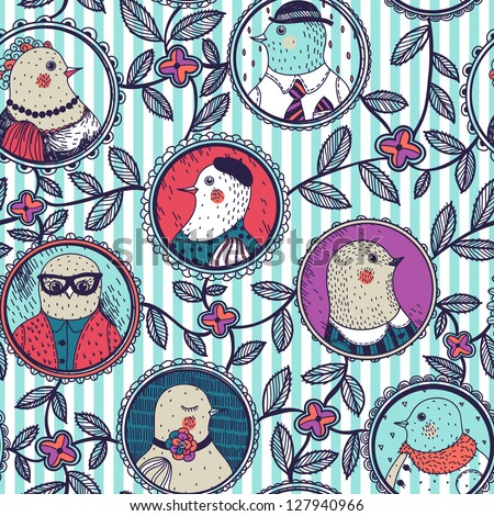 vector floral seamless pattern with funny portraits of birds family - stock vector