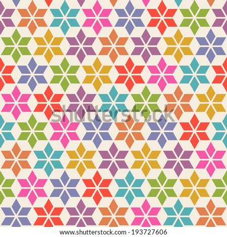 Vector floral seamless pattern with geometric ornament. Color decorative illustration for print, web - stock vector