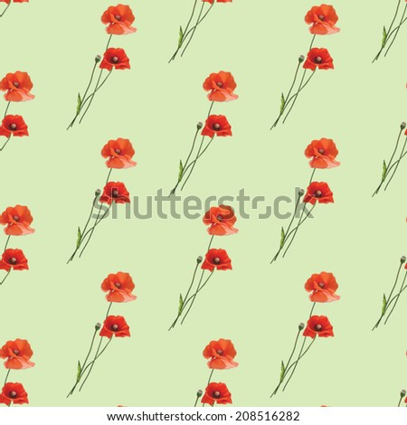 Vector floral seamless pattern with poppies on green background..