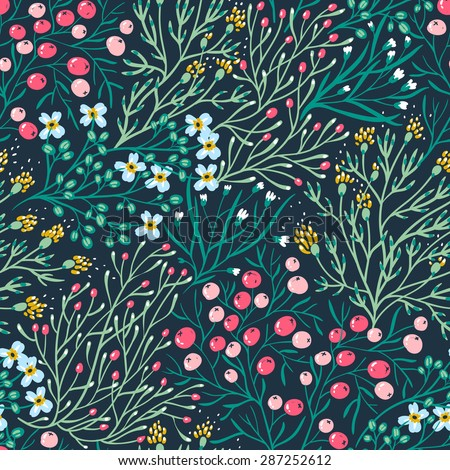 vector floral seamless pattern with summer blooms and berries - stock vector
