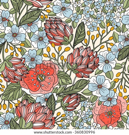 vector floral seamless pattern with vintage blooming roses - stock vector