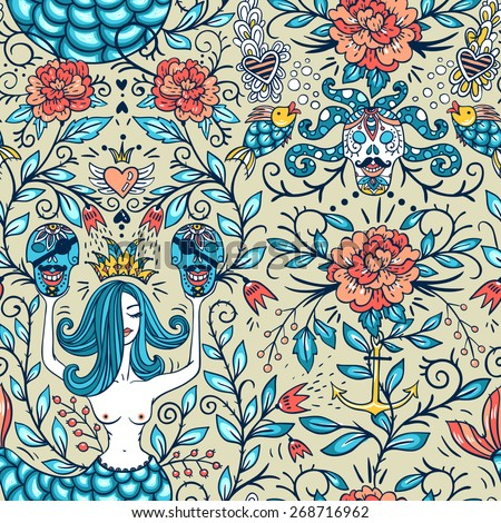 vector floral seamless pattern with vintage roses, beautiful mermaids and pirate skulls