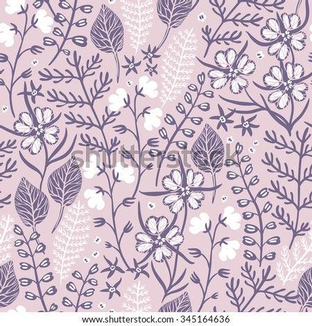 vector floral seamless pattern with wild plants and herbs - stock vector