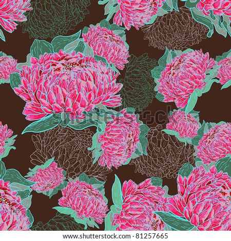 Vector floral seamless texture - stock vector