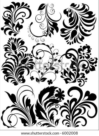 vector floral set - stock vector