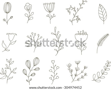 Vector floral set black white floral stock vector 304974452 black and white floral collection with leaves and flowers drawing doodle mightylinksfo