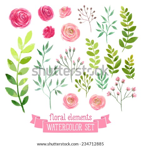 Vector Floral Set Colorful Floral Collection Stock Vector 234712885 - Shutterstock