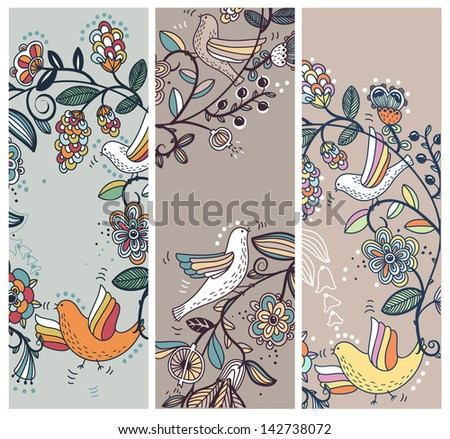 vector floral set of hand drawn cards with flowers and birds - stock vector