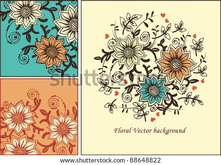 vector floral set with fantasy blooming flowers - stock vector