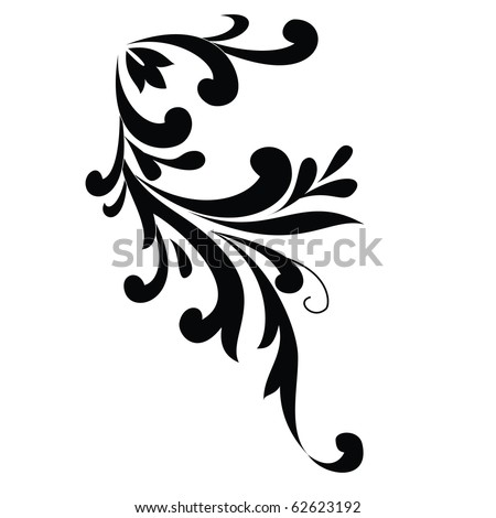 vector floral silhouette on white background . - stock vector