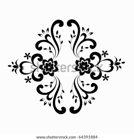 vector floral silhouette on white background - symmetry - stock vector