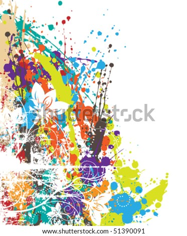 vector floral splash - stock vector