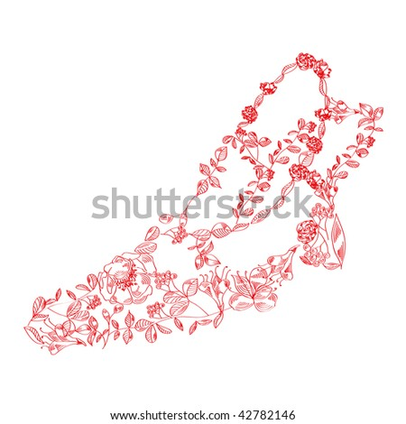 Vector floral stylized shoe. - stock vector