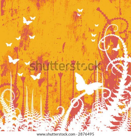 Vector Floral Textured Colored Background with butterfly - stock vector