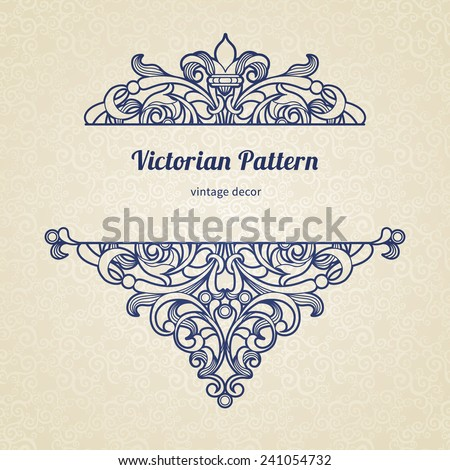 Vector floral vignette in Victorian style.Ornate element for design, place for text. Ornamental vintage illustration for wedding invitations, greeting cards.Traditional blue decor on light background. - stock vector