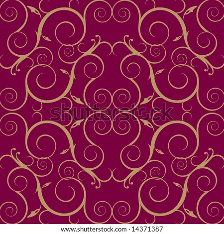 Vector floral vine pattern wallpaper in maroon and gold - stock vector