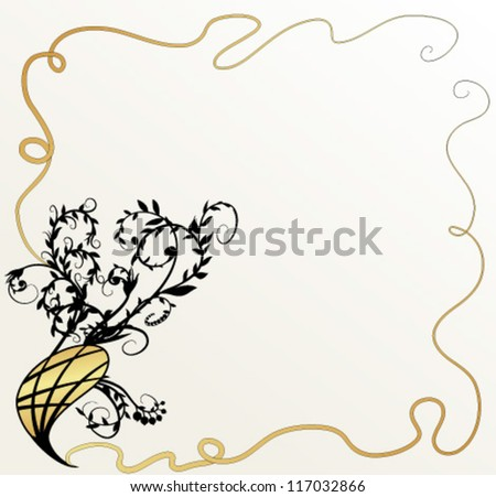 Vector Floral vintage background. Back and gold - stock vector
