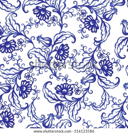 Vector floral watercolor texture pattern with blue flowers.Watercolor floral pattern.Blue flowers pattern.Seamless pattern can be used for wallpaper,pattern fills,web page background,surface textures - stock vector