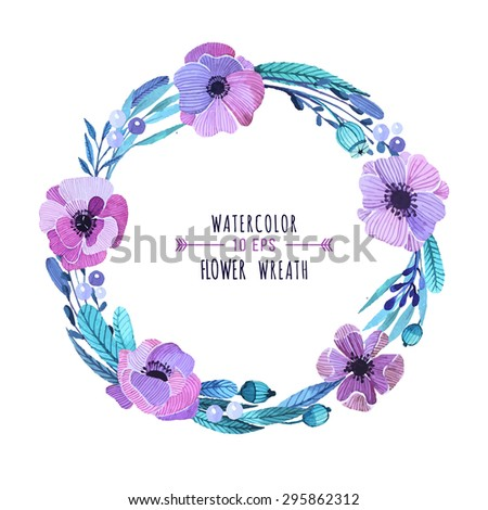 Vector floral wreath in watercolor style. Delicate, feminine floral wreath in purple tones. Floral wreath  for invitations, greeting cards, notebook and other products. - stock vector
