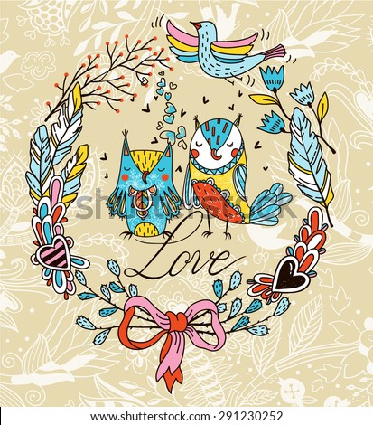 vector floral wreath with colorful  flowers, plants , and two cute owls in love - stock vector