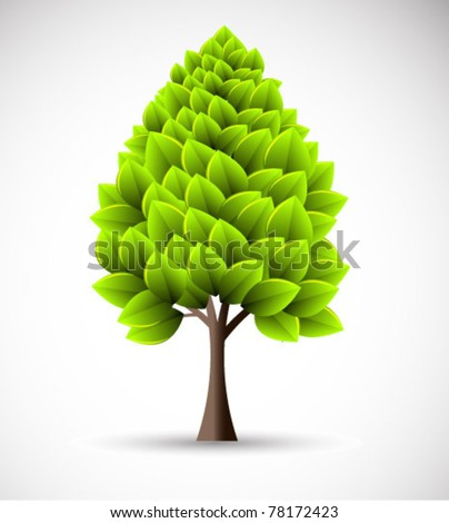 vector florescent tree - stock vector
