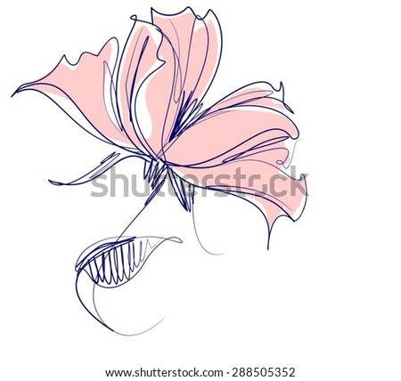 VECTOR    Flower background for design with a tulip   - stock vector