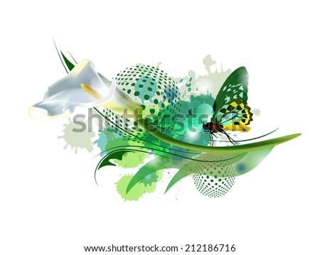 Vector flower calla. Vector background with Flower. art .Style. Design. - stock vector