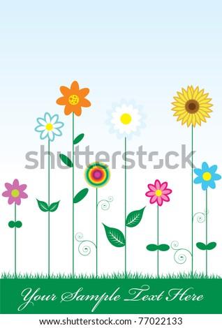 vector flower card vector illustration - stock vector