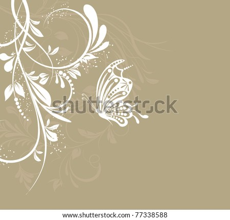 vector flower creative decorative abstract background butterfly - stock vector