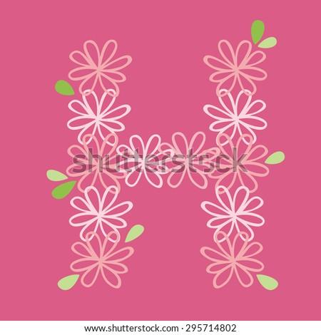 vector flower font, capital Alphabet Letter H - stock vector