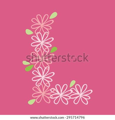 vector flower font, capital Alphabet Letter L - stock vector