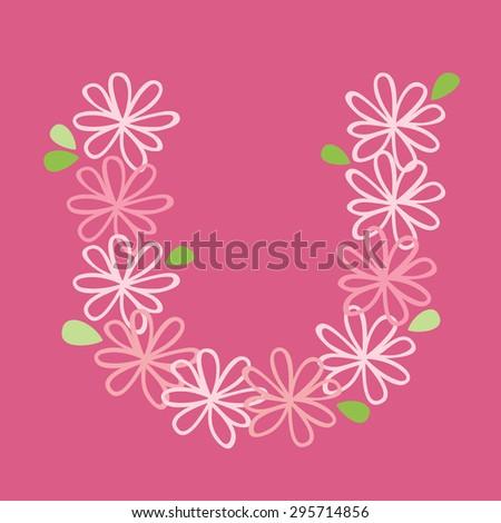 vector flower font, capital Alphabet Letter U - stock vector