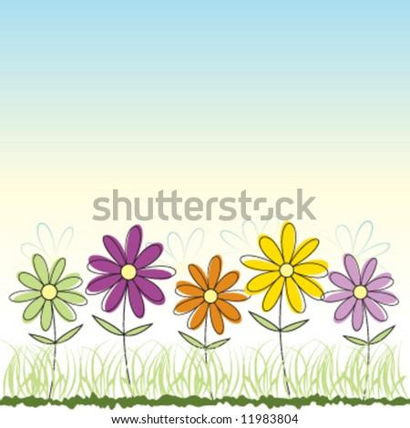Vector flower greeting card - stock vector