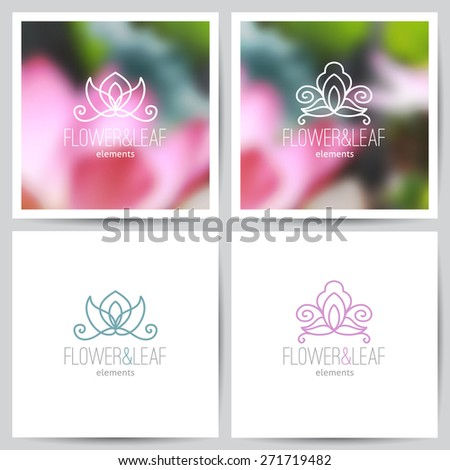 vector flower logo set on blurred backgrounds of lotus and on white - stock vector