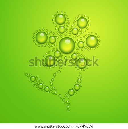 vector flower of the water drops on green background.EPS 10. - stock vector