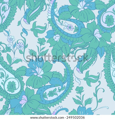 Vector flower paisley seamless pattern element. - stock vector
