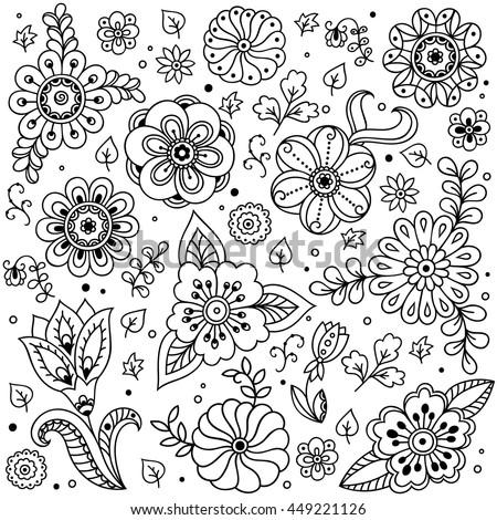 Vector Flower Pattern Doodle Style Spring Floral Background