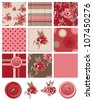 Vector Flower Rose Seamless Patterns and icons.  Use to create digital paper for craft projects or patchwork pieces for quilting and home furnishings. - stock vector