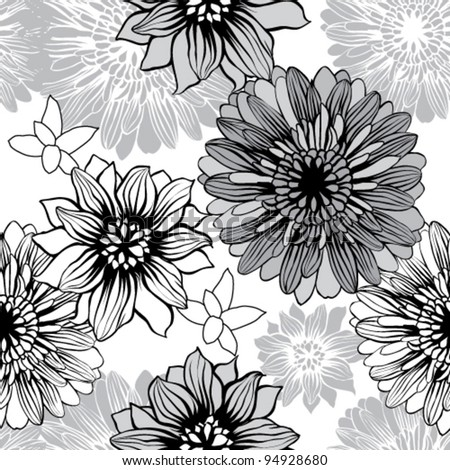 Vector Flower (Seamless Pattern) - stock vector