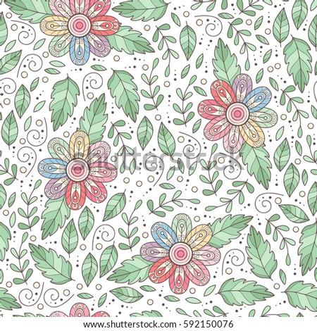 vector flower seamless pattern cute abstract stock vector