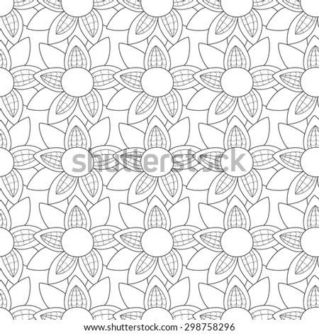 Vector flower seamless pattern. Cute floral print.  Monochrome background. - stock vector