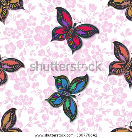 Vector flower seamless pattern element. Elegant texture for backgrounds. With butterfly and flowers.