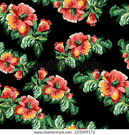 vector flower vintage  navy pattern - stock vector
